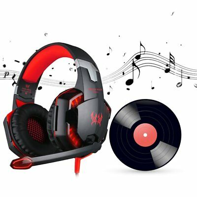 EACH G2000 Pro Gaming Headset 3.5mm LED Stereo PC Headphone Microphone Lot GD