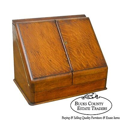 Antique 19th Century English Oak Desk Top File Calendar Organizer
