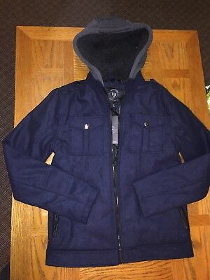 Mens Urban Republic Blue Coat small navy coat winter hooded nwt full zip