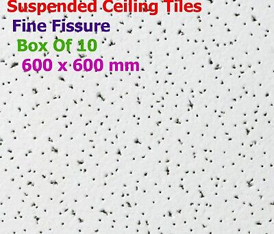 Suspended Ceiling Tiles For Office Shop 595x595mm White With Speckle 10 Per Box