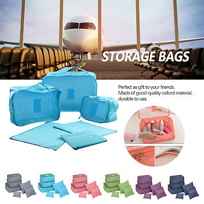 6PCS Waterproof Travel Storage Clothes Packing Cube Luggage Organizer Pouch WI