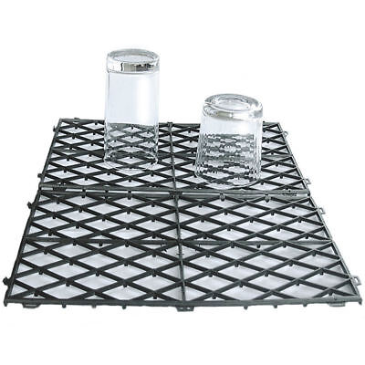 "20 Interlocking Glass Mats Black Plastic Pub Bar Liner Shelf Matting 8"" x 12"""