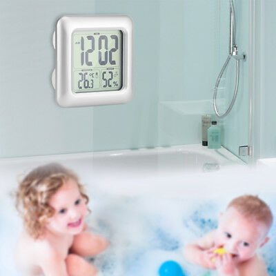 Digital Shower Wall Alarm Clock Timer -12/24h Waterproof Temperature Humidity UK