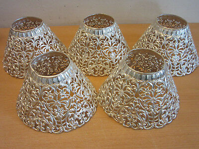 Set of 5 antique victorian fancy reticulated silver plate candle shades covers