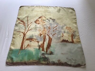 Beautiful 1950s Maggy Rouff Abstract Painterly Silk Scarf