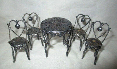 Sterling Silver Fillagree Miniature Bistro Icecream Table &4 Chairs Doll House