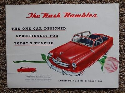 1952 NASH Rambler Large Color Fold-out Sales Brochure - Original