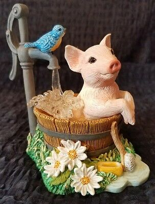 Squeaky Clean Farm Livin' Pig Figurine The Hamilton Collection Country Scene Hog