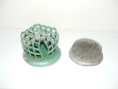 (2) Antique Cast Iron Flower Frog Holders Spikes Cage