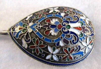 Antique Russian Imperial Cloisonné Enamel And Silver Large Spoon