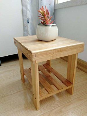 BATH CHAIR STOOL Wood Shelf Medical Spa Storage Teak Shower Bamboo ...