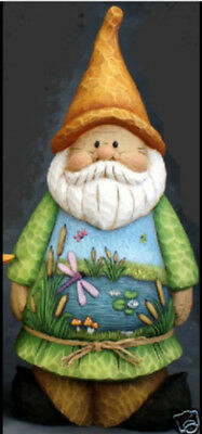 Ceramic Bisque Ready to Paint Gnome with Pond Scene ~BRAND NEW~