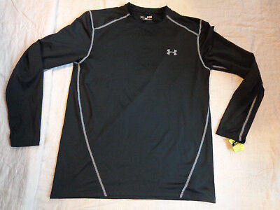 Nwot Under Armour Cold Gear Base Layer,xl Fitted Men,l/s Shirt,black,warm,excell