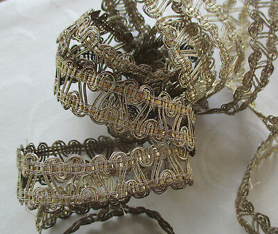 """Vintage Silver Metallic Corded Trim Open Weave 2 Yrds 14""""  French"""