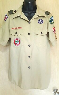 BSA Boy Scouts of America WOMEN'S M Blouse many patches Cascade Pacific costume