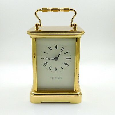 Working Vintage TIFFANY & CO. Swiss Made Brass Desk Carriage Clock