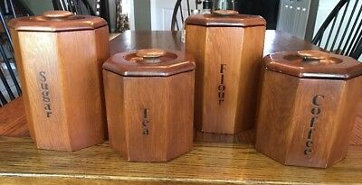 Vintage Solid Wood Octagonal Labeled Canister Set W/ Removable Liners Retro