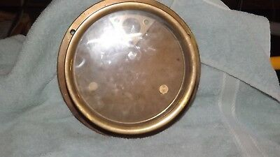 Vintage Boat Solid Brass  Porthole Gauge Holder Glass Cover Screw On Top
