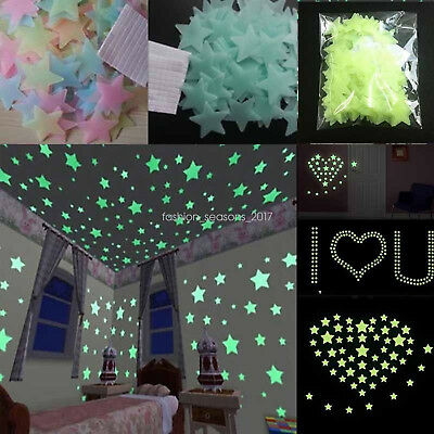 LOT 1000PCS 3D Stars Moon Stickers Glow In The Dark Bedroom Wall Room Decor JO