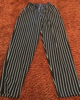 Chef Designs 4XL Unisex Baggy Chalk Stripe Chef Pants Elastic Waist