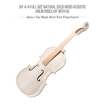 DIY 4/4 Size Natural Solid Acoustic Violin Kit with EQ Spruce Top Maple A5U0