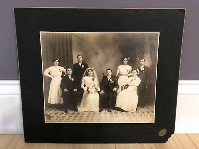Vintage Wedding Group Photo Picture Antique. W. Ossoski Lorain, OH