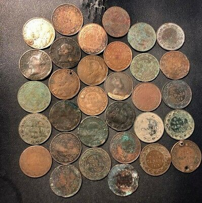 Old Canada Coin Lot  - LARGE CENTS - 32 Coins - Lot #611
