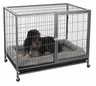 METAL INDOOR DOG Pet Cage Crate Wheeled Mobile Den Puppy House ...