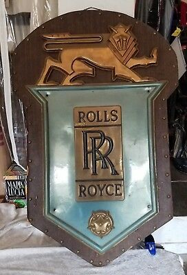 VERY RARE Rolls Royce Sign LARGE Plastic on Wood