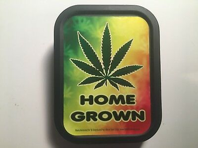 Small Stash Tin 3x2.5x.75 Home Grown Leaf Seal Tight Waterproof Clearance
