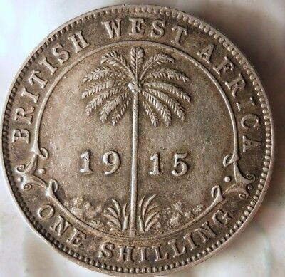 1915 BRITISH WEST AFRICA SHILLING - AU -  Rare African Silver Coin - Lot #611