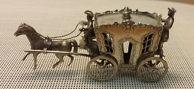 Victorian Silver Miniature Coach With Coachman, Footman & Horse - Hallmarked
