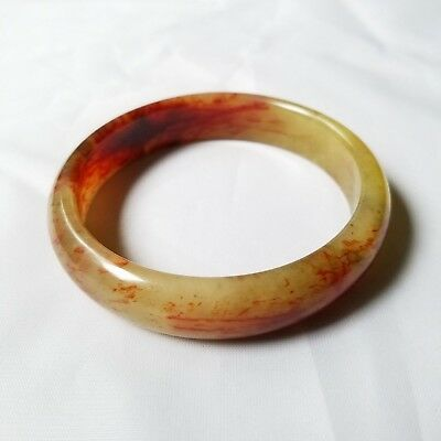 Vintage Natural Multi-Colored Chinese Hetian Jade  Bangle Bracelet ID 65mm