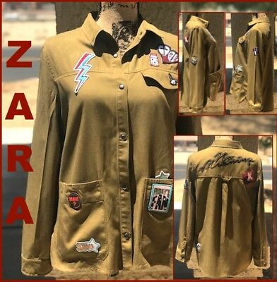 BNWT ZARA TRF OUTER-WEAR ARMY GREEN TOP or JACKET wPATCHES & EMBROIDERY Sz S
