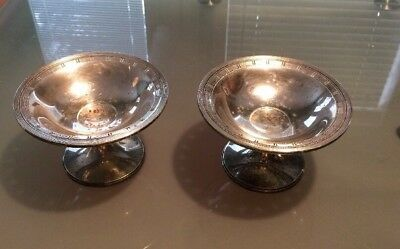 Matching Pair of Sterling Weighted Hallmarked Pierced Compote Candy Dishes 824/9