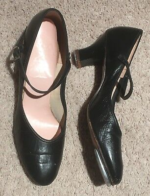 Capezio Character Tap Shoes 9 Narrow Stage Black Leather Dance Heel VINTAGE