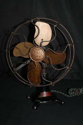 Rare Eck Hurricane Ball Motor Electric Brass Blade & Cage Oscillating Fan