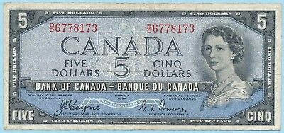 1954 Bank of Canada $5 Devil's Face Banknote - Coyne/Towers Cat#BC-31a