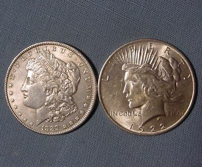Lot of 2 Different Type Silver Dollars - 1889 Morgan & 1922 Peace