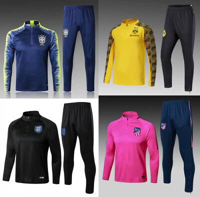 Adult Mens Football Club Tracksuit Soccer Sportwear Tops Bottoms Training Suit