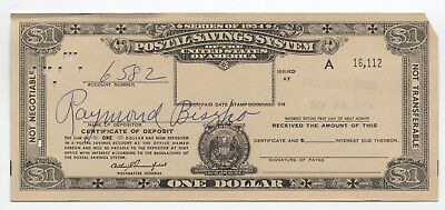 1954 series $1 postal savings certificate Fall River MA undreemed scarce  [3504]