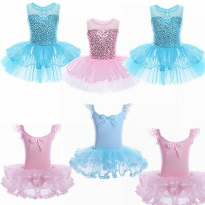 Girl Kid Ballet Dance Dress Leotard Tulle Tutu Skirt Gymnastic Dancewear Costume