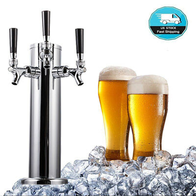 Stainless Steel Triple Tap 3 Faucet Draft Beer Tower Homebrew Bar For Kegerator