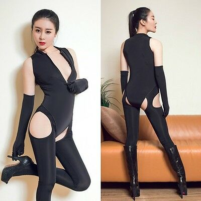 3pcs Women Bodysuit Teddy Lingerie Stockings Gloves Crotchless See Through Sexy