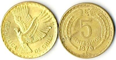 Forty (40) Chile 5 Centesimos Coins KM 190, XF  Aluminum Bronze(brass)