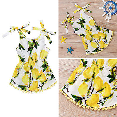 Baby Girls Kids Lemon Sleeveless Romper Jumpsuit Toddler Summer Clothes Outfits