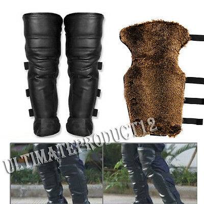 Motorcycle Warmer Gaiter Genuine Leather Faux Fur Biker Half Chaps Legging AU