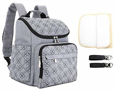 Baby Diaper Bag Backpack Mummy Travel Nappy Large Capacity w/ Changing Pad Grey
