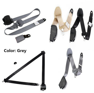 Grey 3 Point Retractable Car Safety Seat Belts Lap Seatbelts for Safe Driving