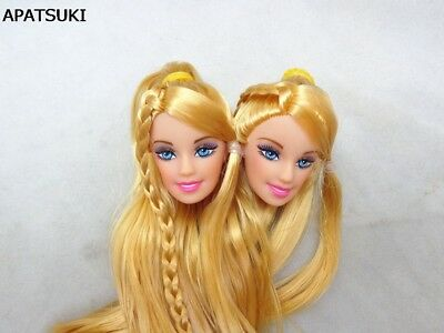 2pcs/lot DIY Kids Toy Golden Hair Princess Doll Head For Barbie Doll Accessories